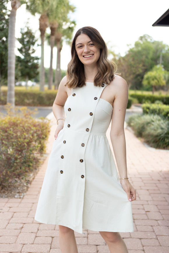 ALL BUTTONED UP OVERALL DRESS