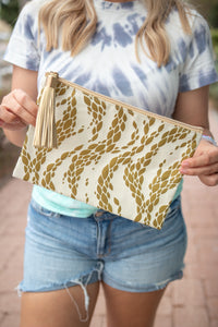 GOLD PATTERNED ZIP POUCH
