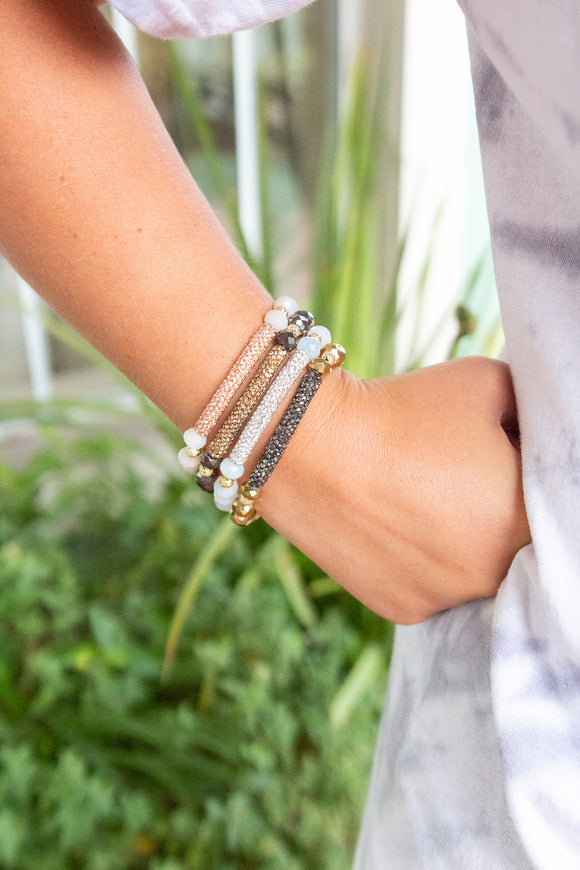 ERIMISH GLITTER NEUTRAL BAR BRACELET
