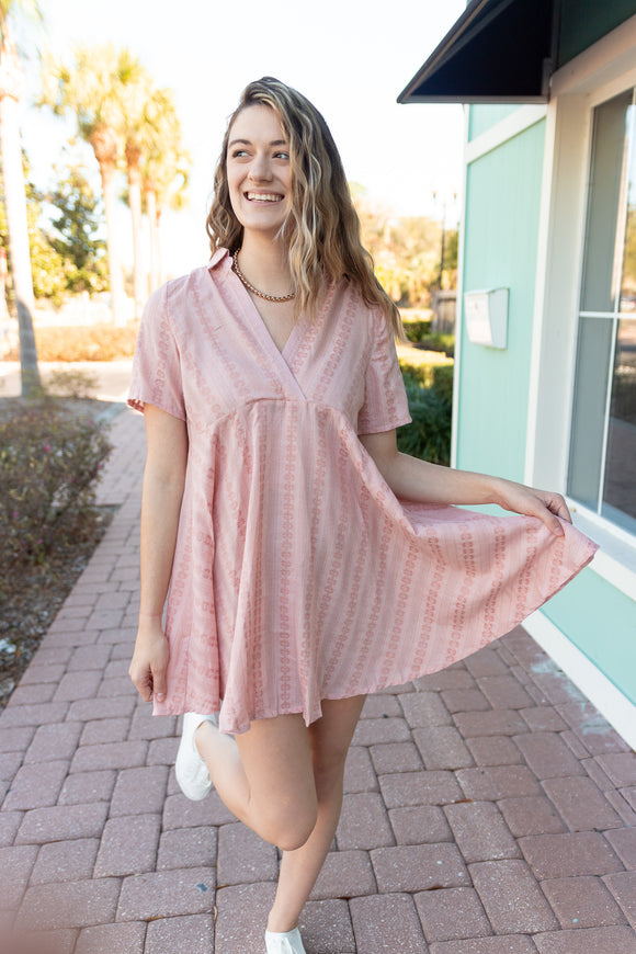 SUNSET DRIVE PEACH FLARE DRESS