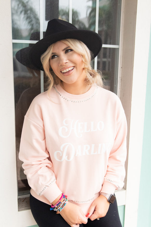HELLO DARLING EMBELLISHED SWEATER