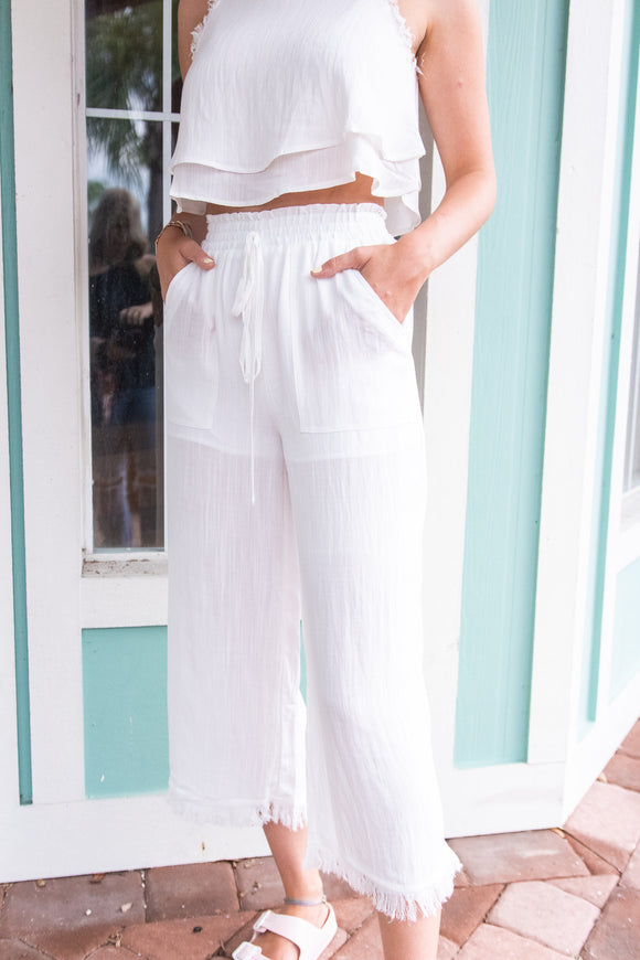 WATERCOLOR WHIMSY FRAYED HEM PANT