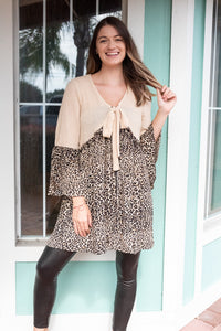 ACT NATURAL LEOPARD WAFFLE KNIT DUSTER