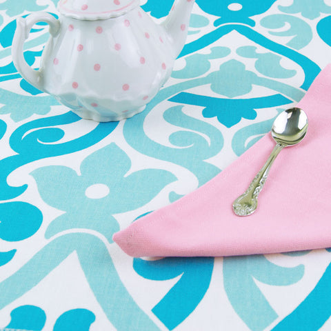 Child's Aqua & Pink Table Linens