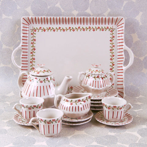 Child's Red Striped Tea Set