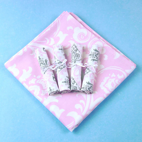 Child's Light Pink Damask Table Linens