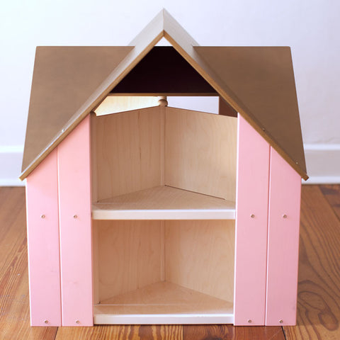 Custom Cottage Dollhouse Brown Pink