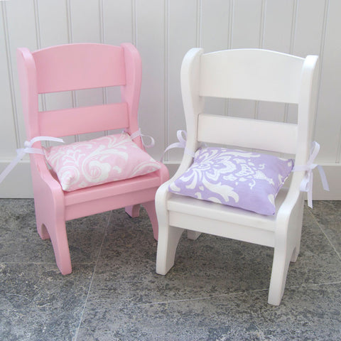 Lavender Damask Doll Chair Cushions (set of 2)