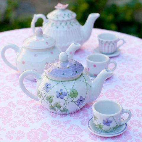 Porcelain Doll Tea Set in Lavender
