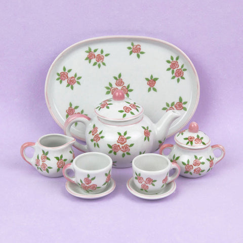 Doll Pink Rosebud Tea Set
