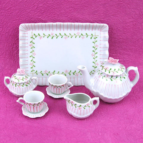 Porcelain Doll Tea Set in Pink Stripe