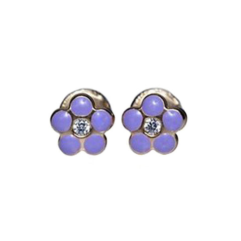 Purple Flower Stud Earrings