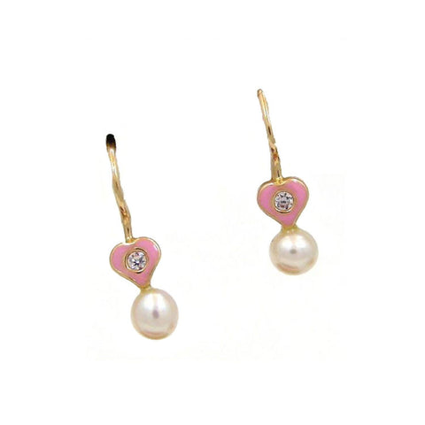 Heart & Pearl Drop Earrings