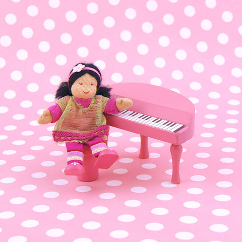 Eco-Friendly Dollhouse Girl Doll Midori the Musician and Pink Piano
