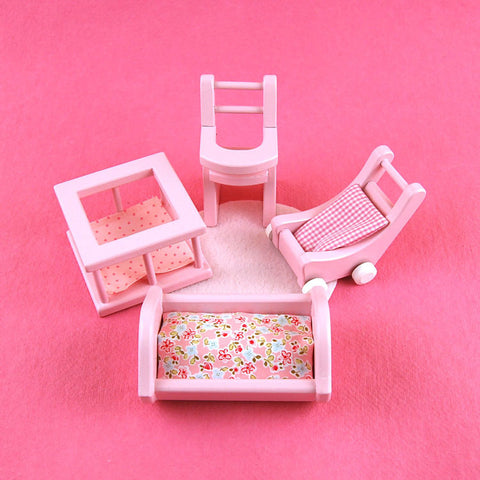 Eco-Friendly Dollhouse Furniture Pink Nursery