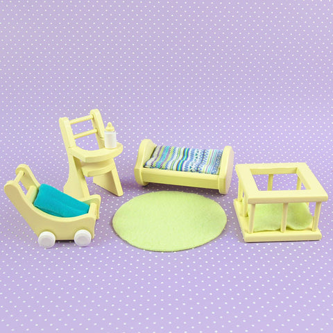 Dollhouse Furniture Yellow Nursery Set
