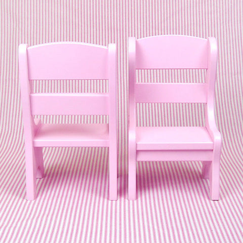 15 Inch Doll Furniture 2 Pink Chairs Set