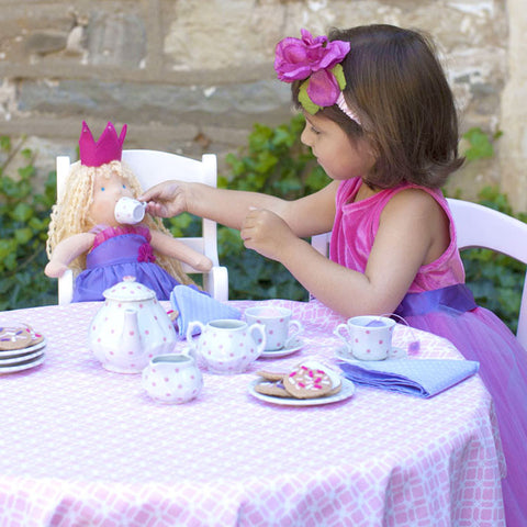 Child's Porcelain Pink Polka Dot Tea Set