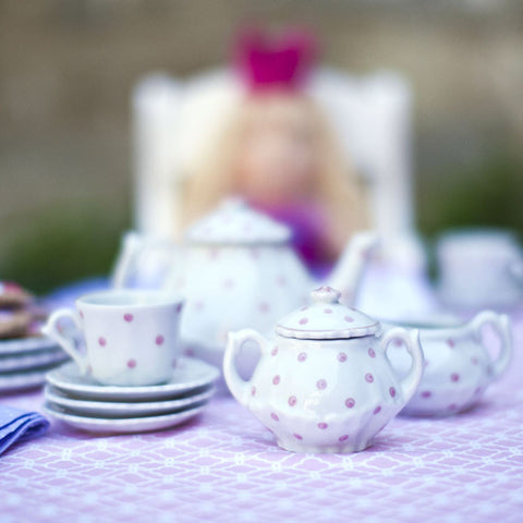 Child's Porcelain Tea Set Pink Polka Dot