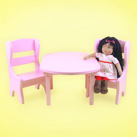 15 Inch Doll Furniture Pink Table and Chairs Set