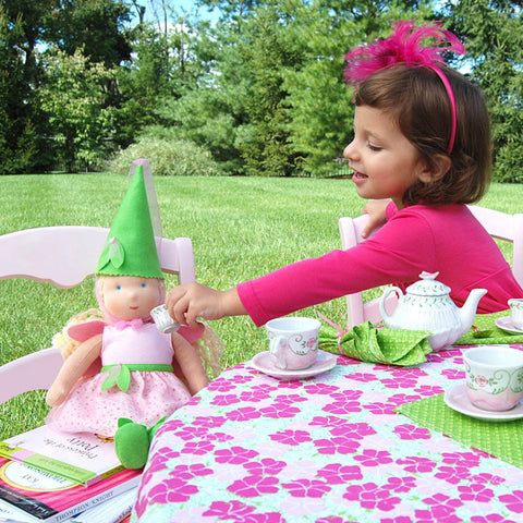 Child's Pink & Green Floral Table Linens