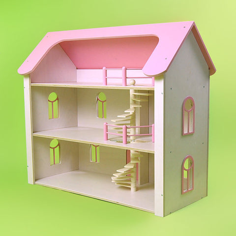 Eco-Friendly Dollhouse Raspberry Road Manor in Cotton Candy Pink