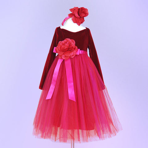 Child's Dress Up Long Sleeve Red Tulle Gown