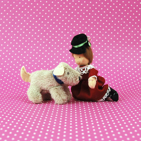 Eco Friendly Dollhouse Doll Girl Annie K. and Oatmeal the Dog