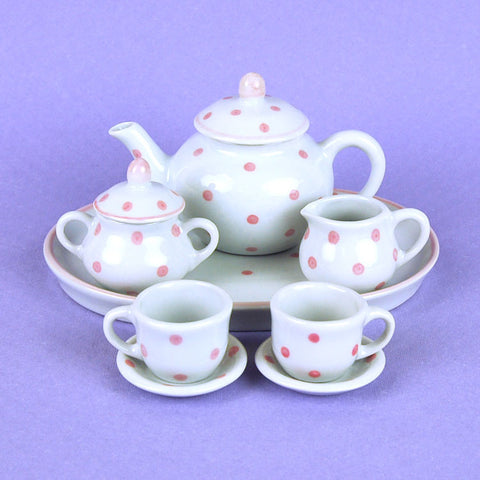 Porcelain Doll Tea Set in Pink Polka Dot
