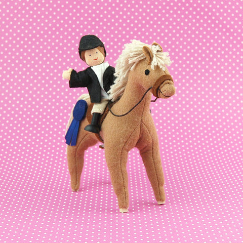 Eco-Friendly Dollhouse Girl Doll Eden the Equestrienne and Cocoa Bean the Horse