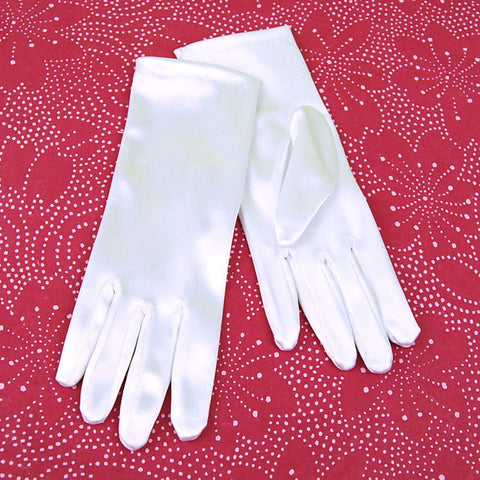 Dress Up White Satin Gloves