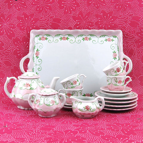 Child's Porcelain Pink Flower Tea Set