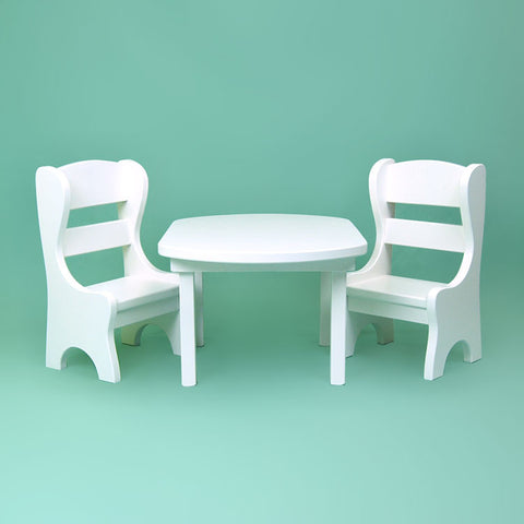 White Oval Doll Table & 2 Chairs Set