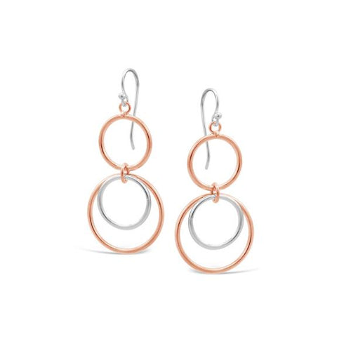 Stones & Silver Rose Gold Dangly Earrings
