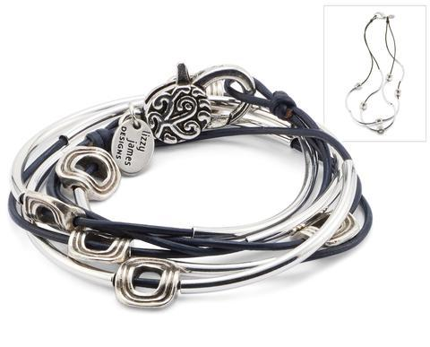 Lizzy James Bracelet/Necklace Aura - Metallic Gunmetal-Salt Lines Design