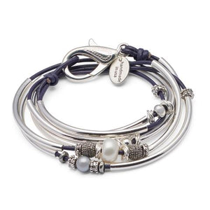 Lizzy James Bracelet/Necklace Candy - Metallic Gunmetal-Salt Lines Design