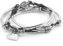 Load image into Gallery viewer, Lizzy James Bracelet/Necklace Double Love Hammered Heart - Metallic Berry-Salt Lines Design