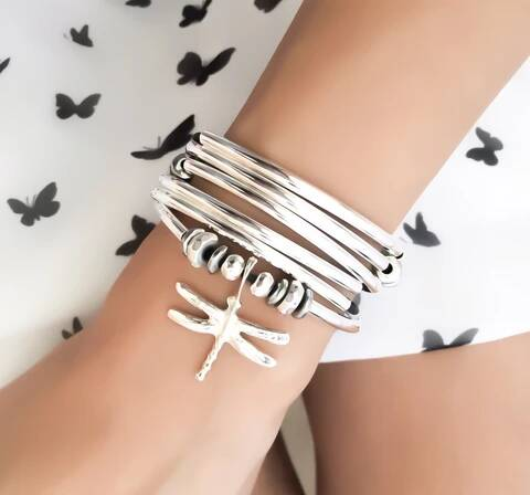 Lizzy James Bracelet/Necklace Dragonfly - Natural Black-Salt Lines Design