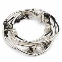Load image into Gallery viewer, Lizzy James Bracelet/Necklace Double Ginger - Metallic Gunmetal-Salt Lines Design