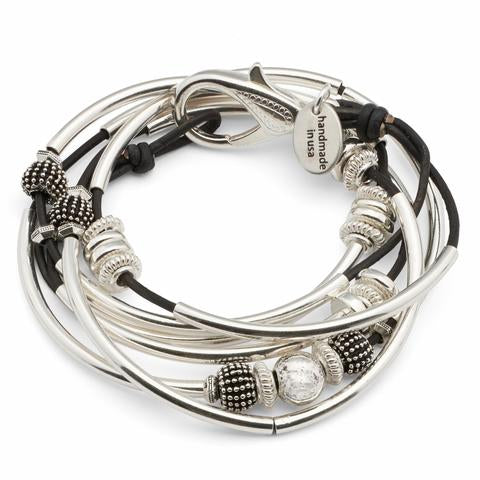 Lizzy James Bracelet/Necklace Double Ginger - Metallic Gunmetal-Salt Lines Design
