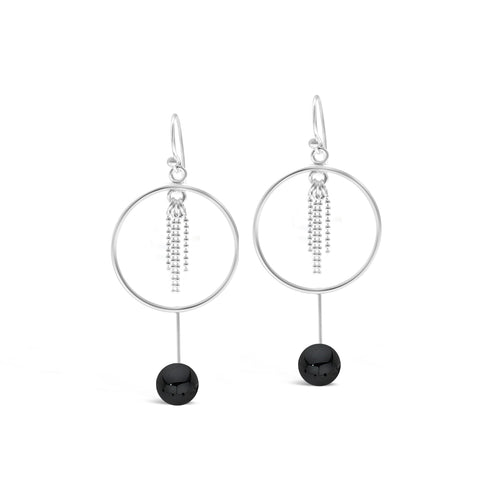 Stones & Silver Hoop Chain Gemstone Earrings-Salt Lines Design