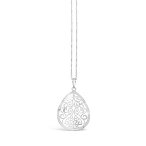 Stones & Silver Sterling Silver Filigree Teardrop Necklace-Salt Lines Design