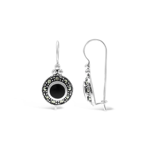 Stones & Silver Marcasite Collection Earrings-Salt Lines Design