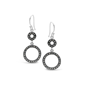 Stones & Silver Marcasite Earrings-Salt Lines Design