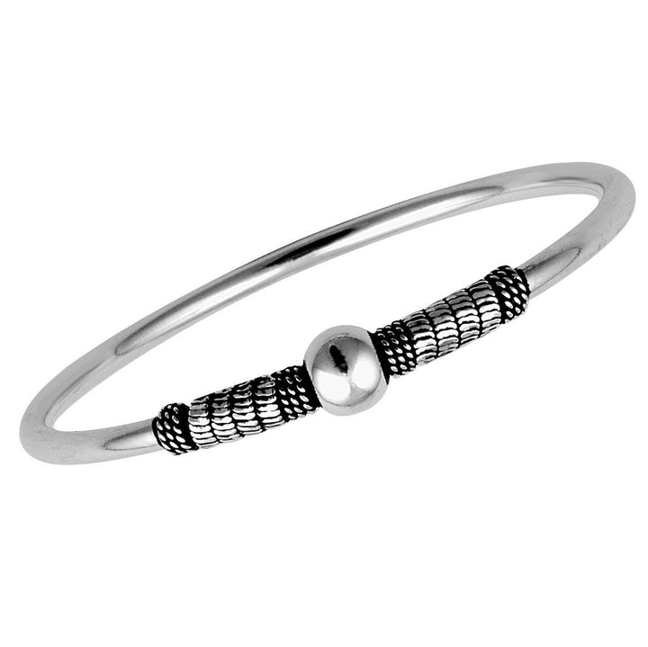 Stones & Silver Boho Collection Bangle-Salt Lines Design