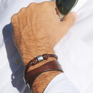 Mr James Bracelet Atlas - Natural Antique Brown-Salt Lines Design