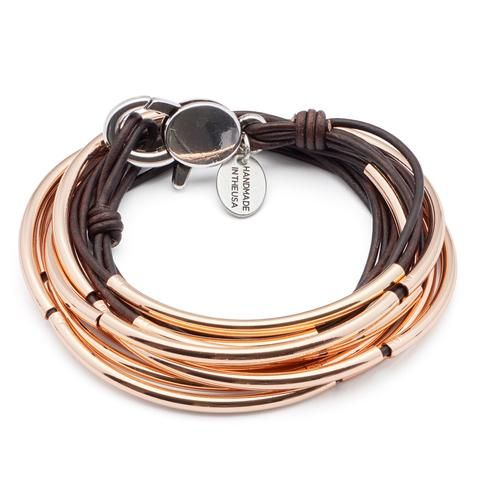 Lizzy James Bracelet/Necklace Lizzy Classic - Natural Antique Brown - Rose Gold