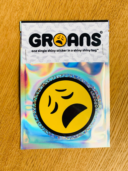 Groans 'Groany Face' shiny sparkle sticker