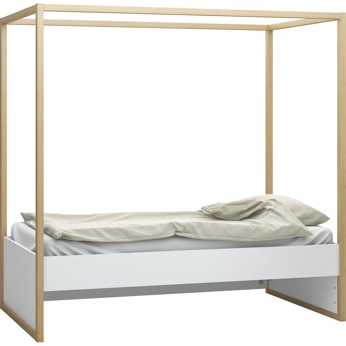 4 You - 4 Poster Single Bed in White & Oak