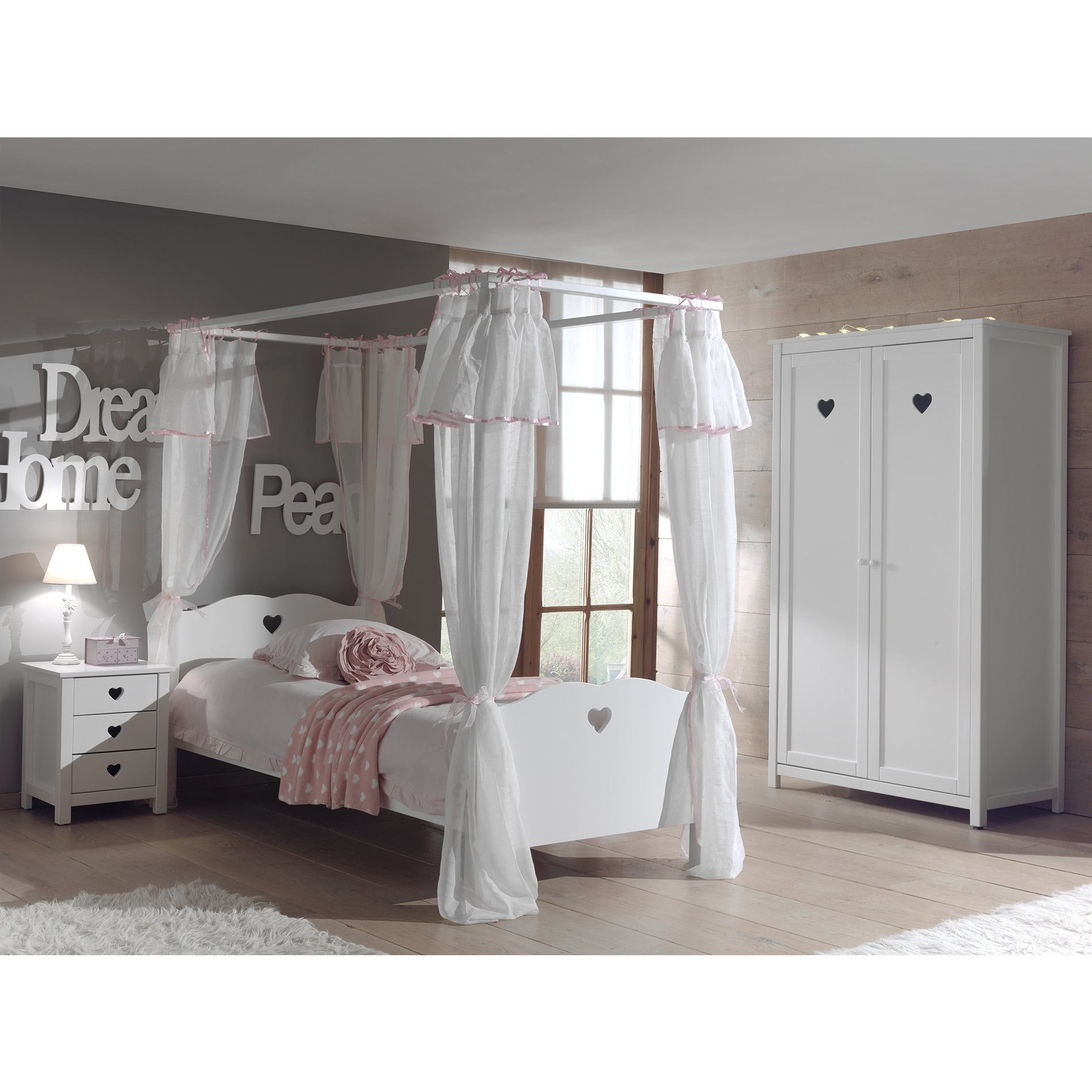 Amori - Kids Four Poster Bed in White